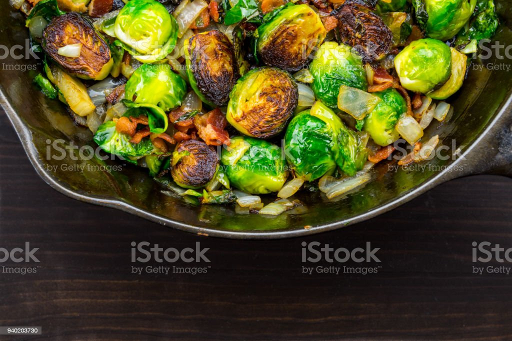Wide Half View of Roasted Brussels Sprouts and Bacon stock photo