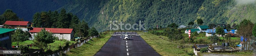 istock Wide Landscape View of Aircraft Landing on Tenzing