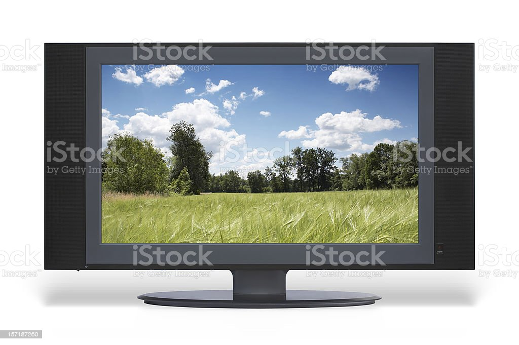 Wide LCD HD TV (with screen and clipping path), isolated stock photo