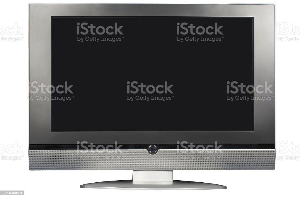 Wide LCD (with screen and clipping path), isolated on white royalty-free stock photo