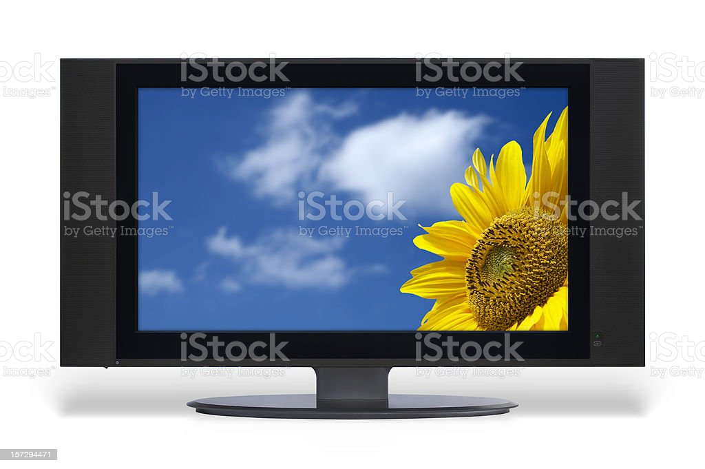 Wide LCD TV set (clipping path) royalty-free stock photo