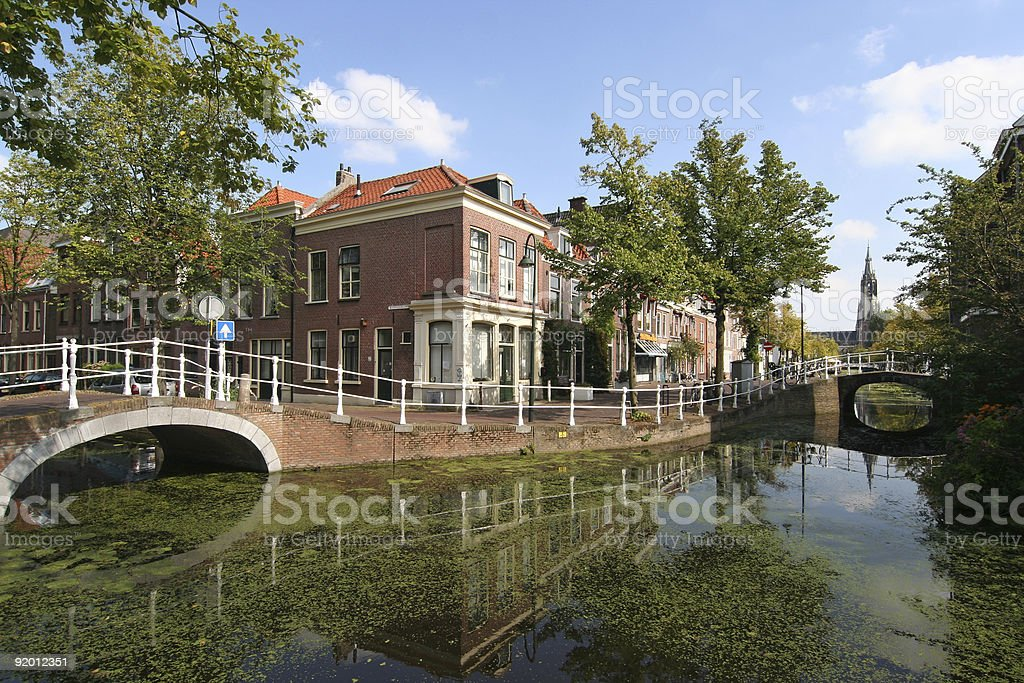 Wide lens shot of the Delft Canal stock photo