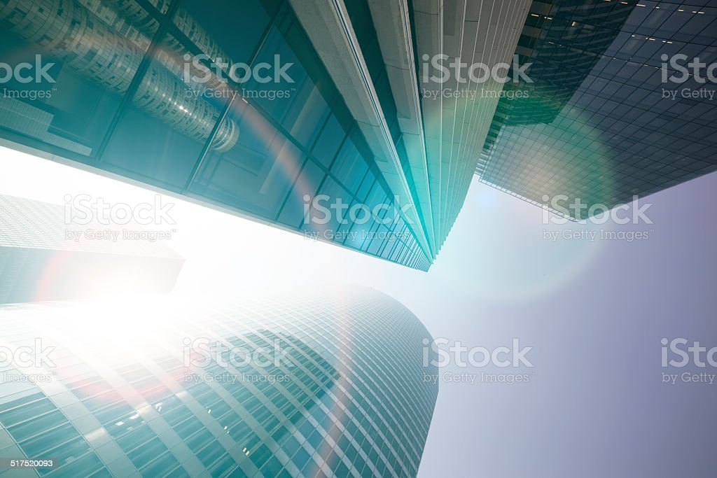 Wide Lens View of Modern Buildings. Business Concept stock photo