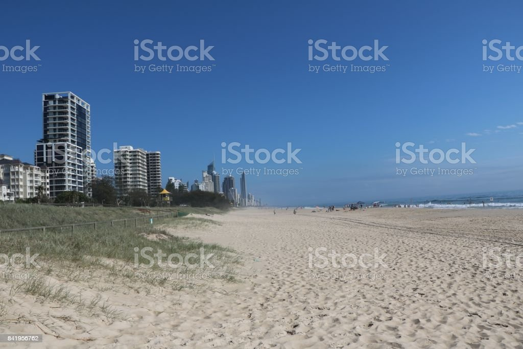 Wide long beach of  Surfers Paradise Gold Coast in Queensland at Pacific Ocean, Australia stock photo