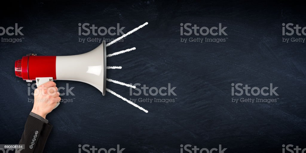 wide megaphone blackboard business background stock photo