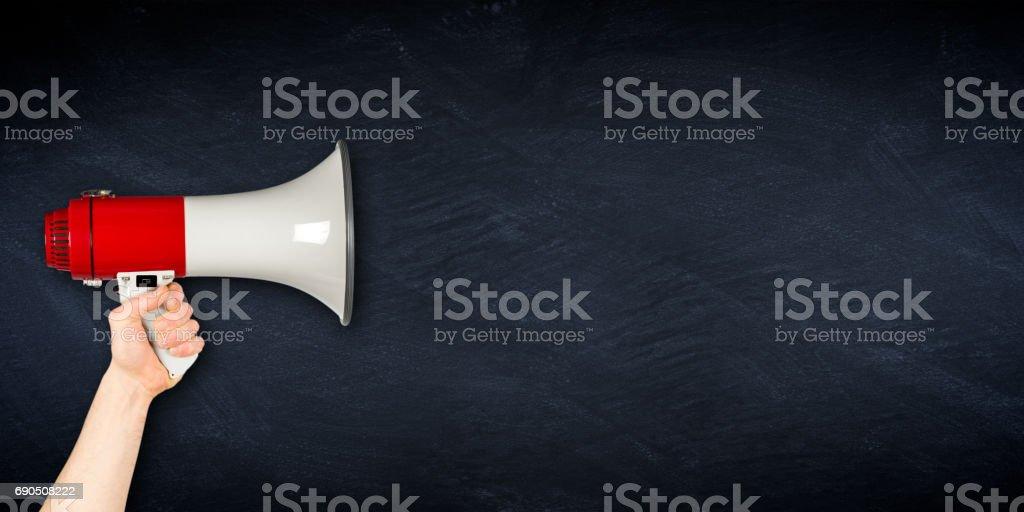 wide megaphone blackboard business background stock photo