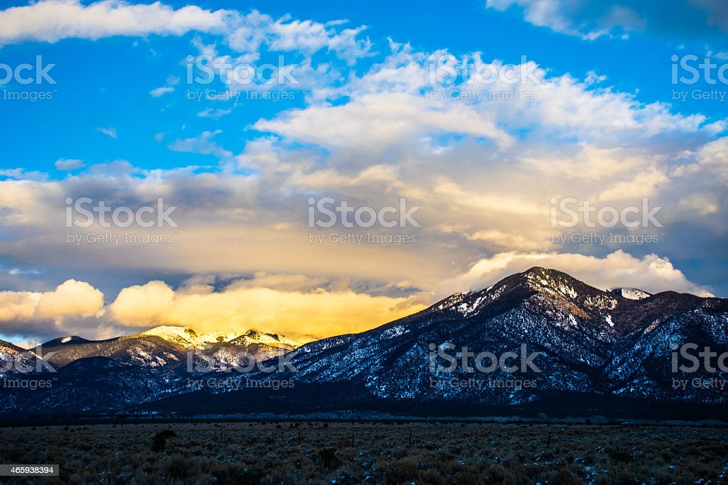 Wide Open Sunset Cloudy Mountain Scape stock photo