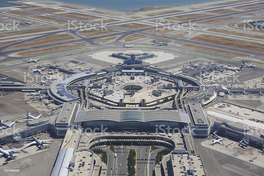A wide pan view of San Francisco Airport  stock photo