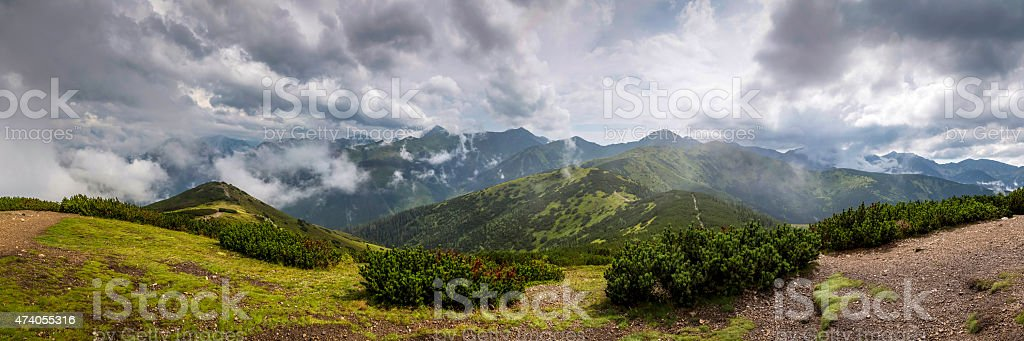 Wide panorama from polish mountain Grześ stock photo