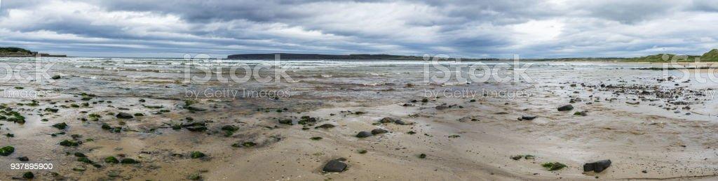 Wide panorama of Dunnet Bay near Thurso, Caithness, Scotland, Britain stock photo