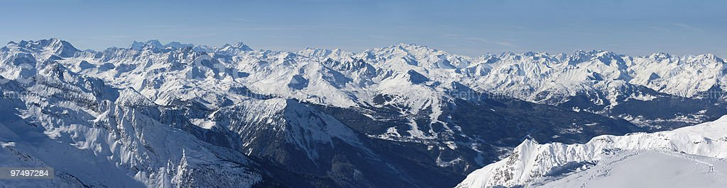 Wide panorama of French Alps royalty-free stock photo