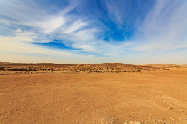 wide panorama of negev desert with clouds at wind - wilderness stock pictures, royalty-free photos & images