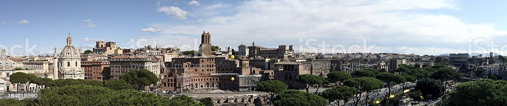 Wide panorama of Rome with downtown skyline stock photo