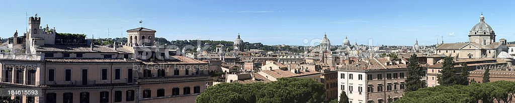 Wide panorama of Rome's downtown by day stock photo