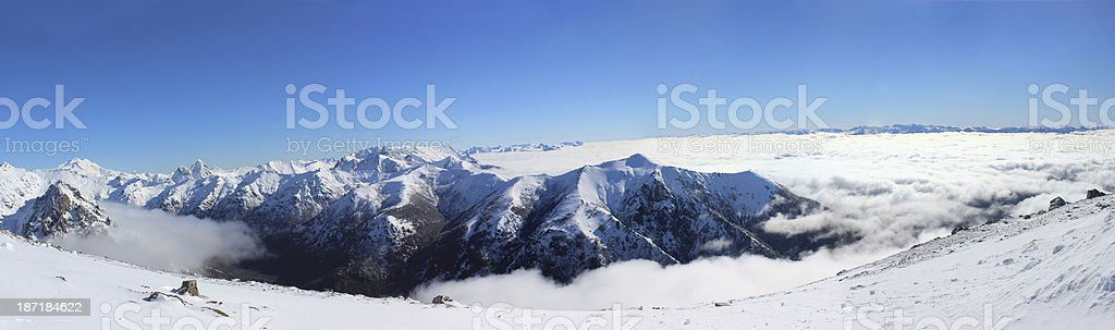 Wide panorama scene - The top of Andes mountains royalty-free stock photo