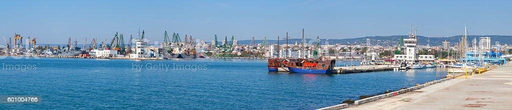Wide panoramic photo of Varna port in summer stock photo