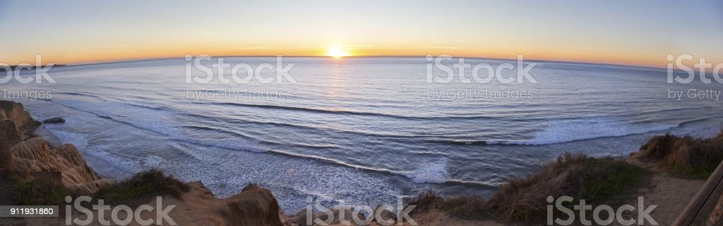 Wide Panoramic Scenic Pacific Ocean Sunset on Torrey Pines San Diego California stock photo