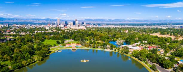 Wide Panoramic view of Denver , Colorado stock photo