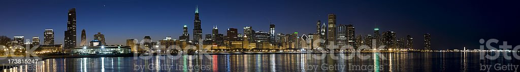 Wide Panoramic View of the Chicago Skyline at Twilight (XXXL) royalty-free stock photo
