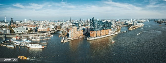 Wide panoramic drone view over the river on Hamburg Hafen city