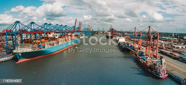 wide aerial panoramic view overCargo container terminal in Hamburg port