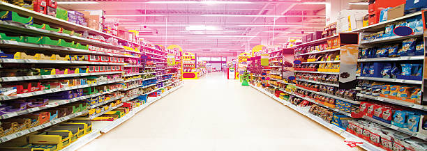 Wide perspective of empty supermarket stock photo