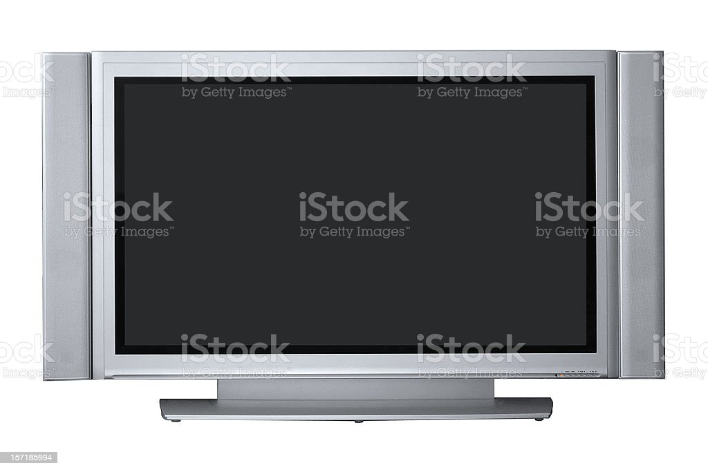 Wide Plasma TV with clipping path, isolated on white background royalty-free stock photo