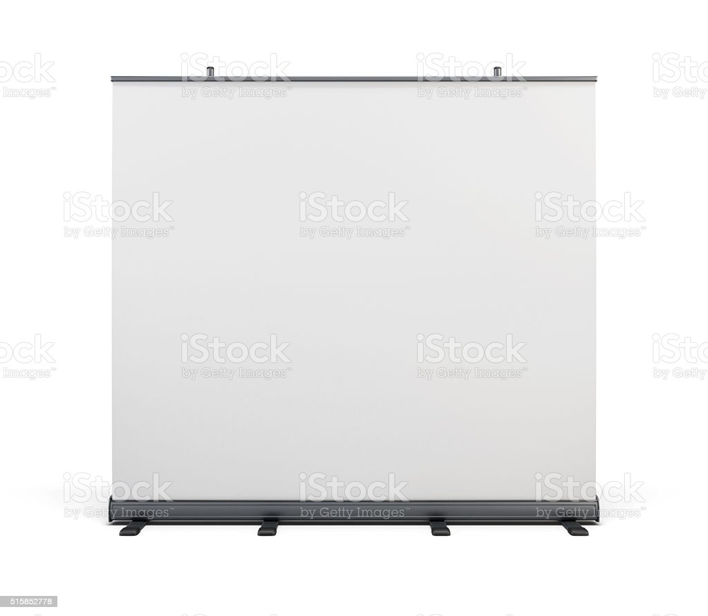 Wide portable advertising banner. Roll up isolated on white back stock photo