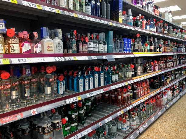 Wide range of alcohol for sale in a British supermarket stock photo