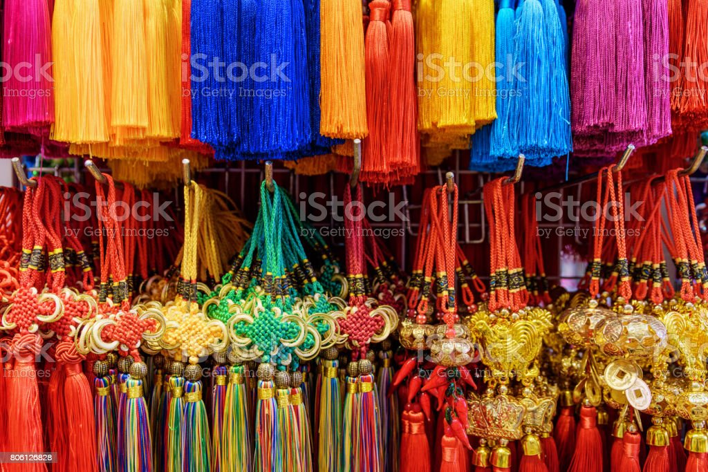 Wide range of colorful traditional Chinese souvenirs, Singapore stock photo