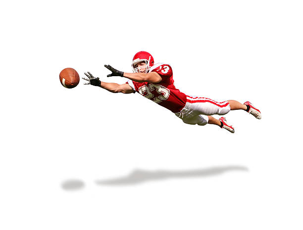 Wide Receiver with Clipping Path Determined receiver getting horizontal. american football player stock pictures, royalty-free photos & images