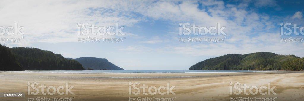 Wide sandy beach at Cape Scott provincial park. stock photo