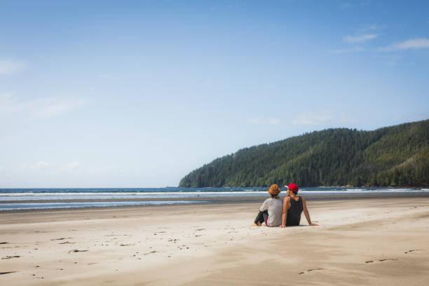 wide sandy beach at cape scott provincial park. - provincial park stock photos and pictures