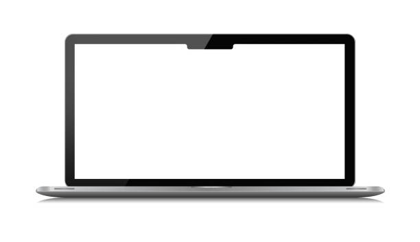 (Clipping path) Wide screen laptop isolated on white background - foto stock