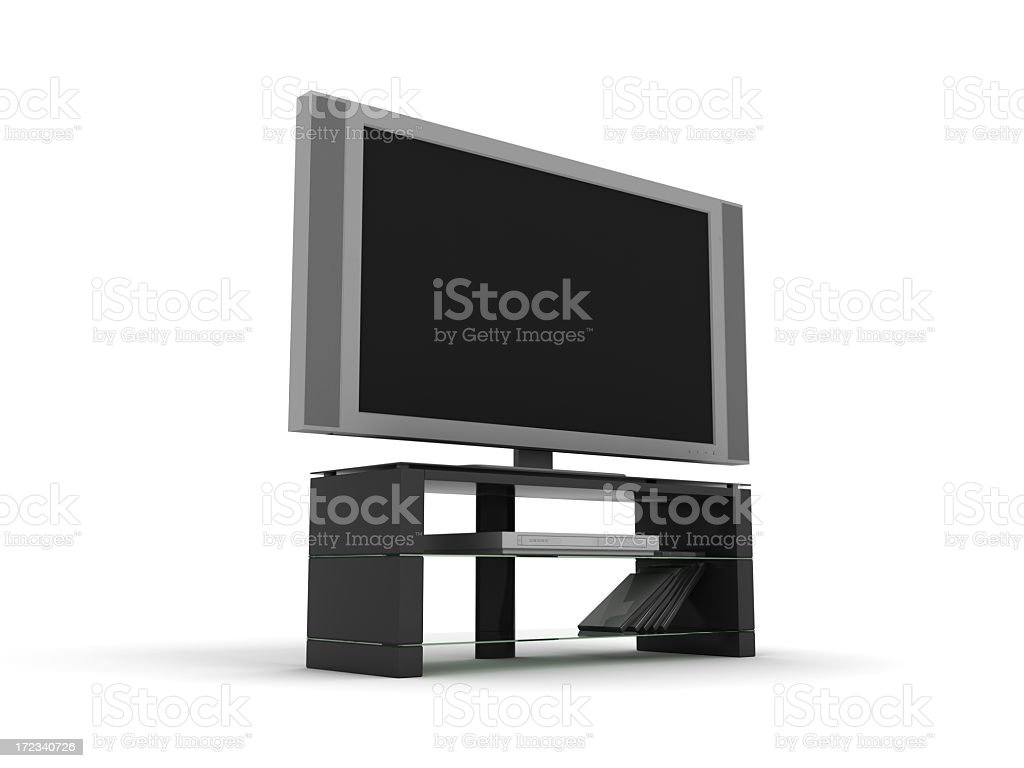 Wide Screen LCD / Plasma TV with HD-DVD player royalty-free stock photo