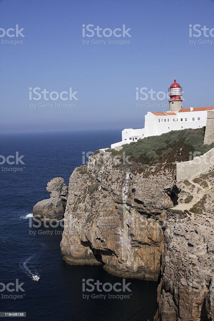 Wide Shot: Cape St. Vincent Lighthouse with Speedboat royalty-free stock photo