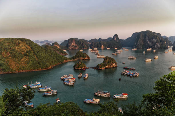 Wide shot, High angle view of Ha Long bay from Tip Top Island