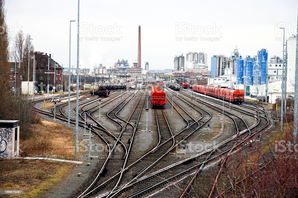 Wide shot of an industrial railroad track  stock photo