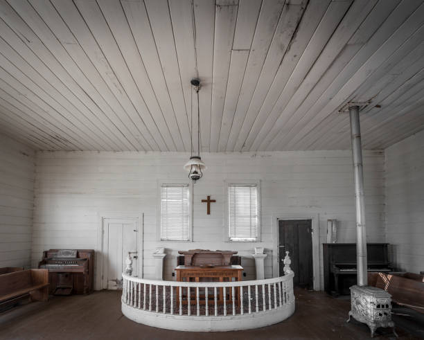 Wide shot of an old abandoned church stock photo