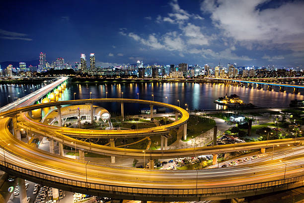 Wide shot of Seoul, South Korea at night stock photo