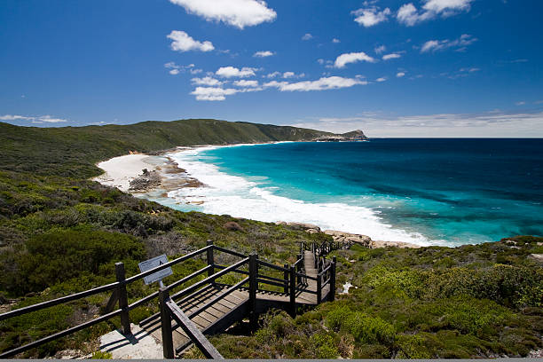 wide shot of the coast in the torndirrup national park - western australia stock pictures, royalty-free photos & images