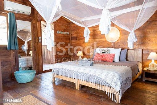 Wide shot wooden luxury island cabin