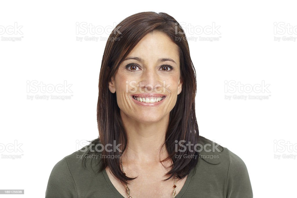 Wide smile with confidence in closeup stock photo