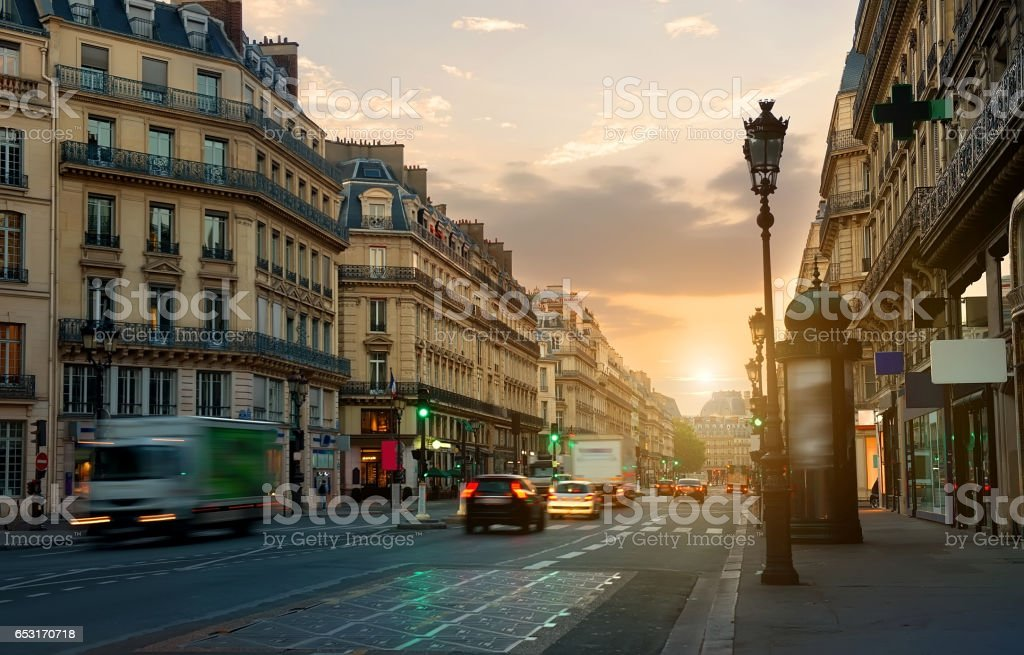 Wide street in Paris stock photo
