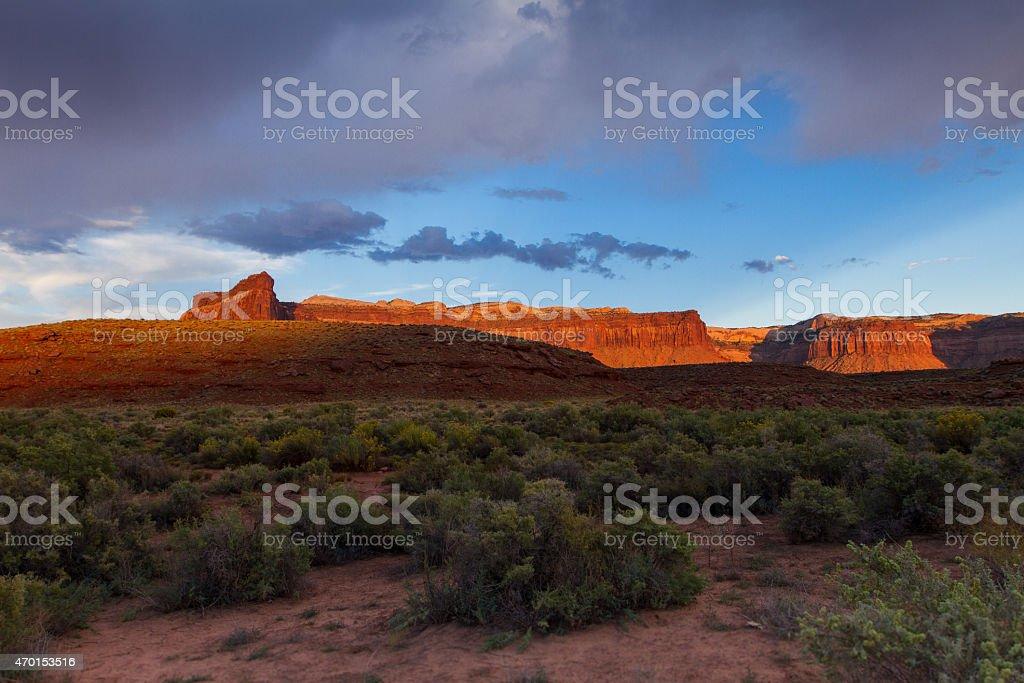 Wide Sunset Indian Creek Utah stock photo