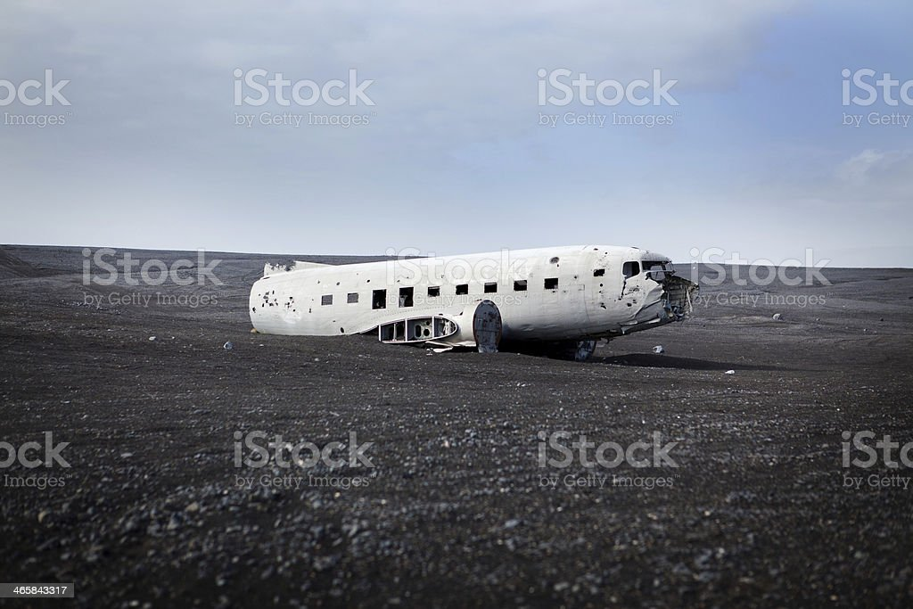 Wide View of Airplane Wreck - Solheimasandur Iceland Plane Crash stock photo