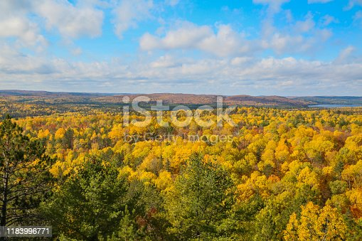 Wide view from the top from Algonquin Provincial Park on autumn