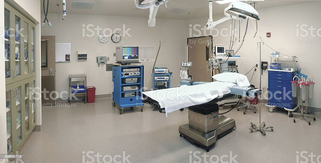 Wide view of an empty operating room with bed and equipment  royalty-free stock photo