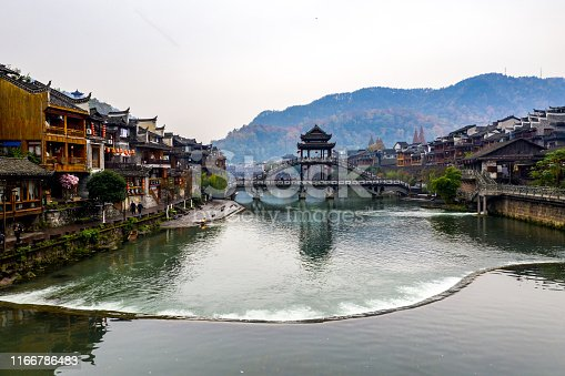 Wide view of beautiful Fenghuang ancient town in Hunan