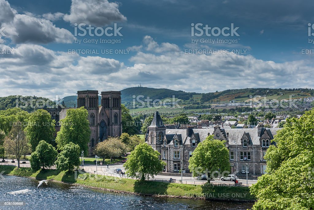 Wide view of hills with Andrews Cathedral and Ness River. stock photo